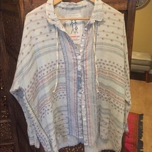 NEW Johnny Was Pattern Button Down Blue Small